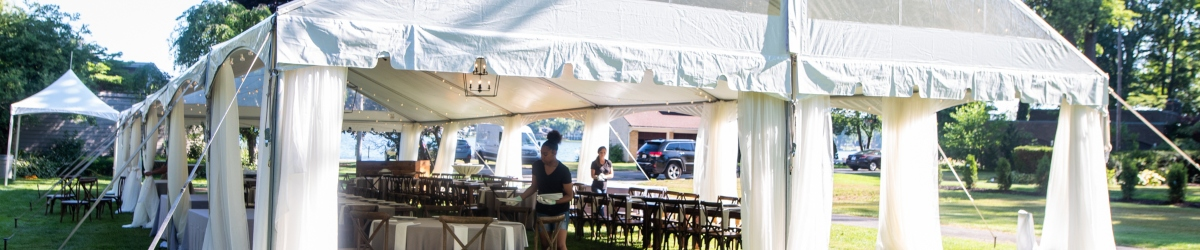 event in a tent branding